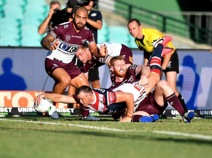 Record Breaker: Brett Morris jumped to outright fourth on the NRL's all-time try-scorer's list in the side's massive win.