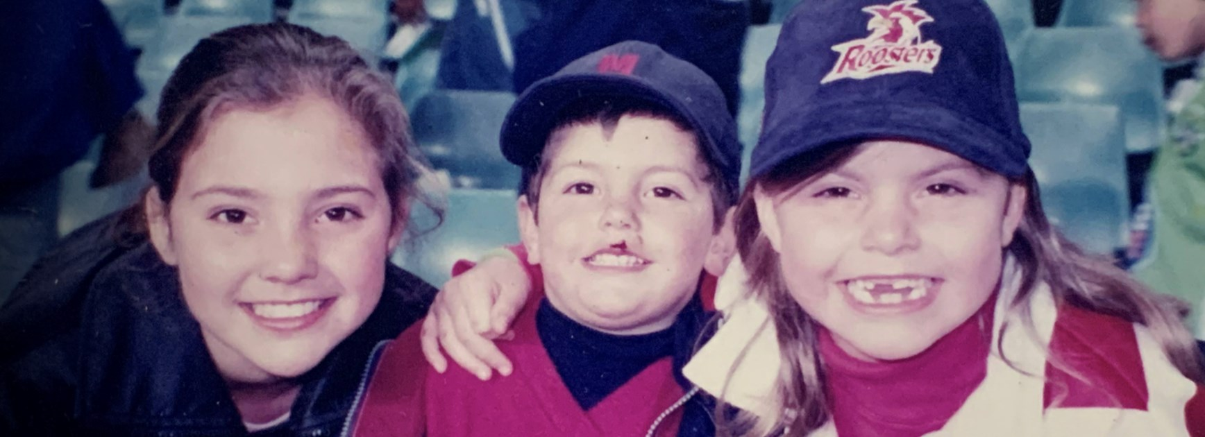 Rooster Since the Start: A young Jess Sergis (far right) at a Roosters game with her siblings.