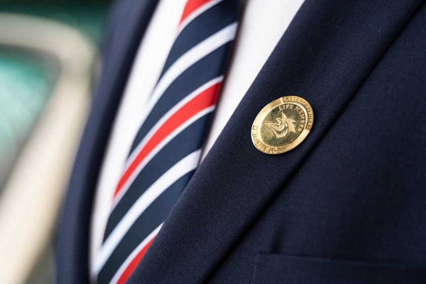 Proudly worn: Craig Fitzgibbon's Life Members badge adorns his lapel.
