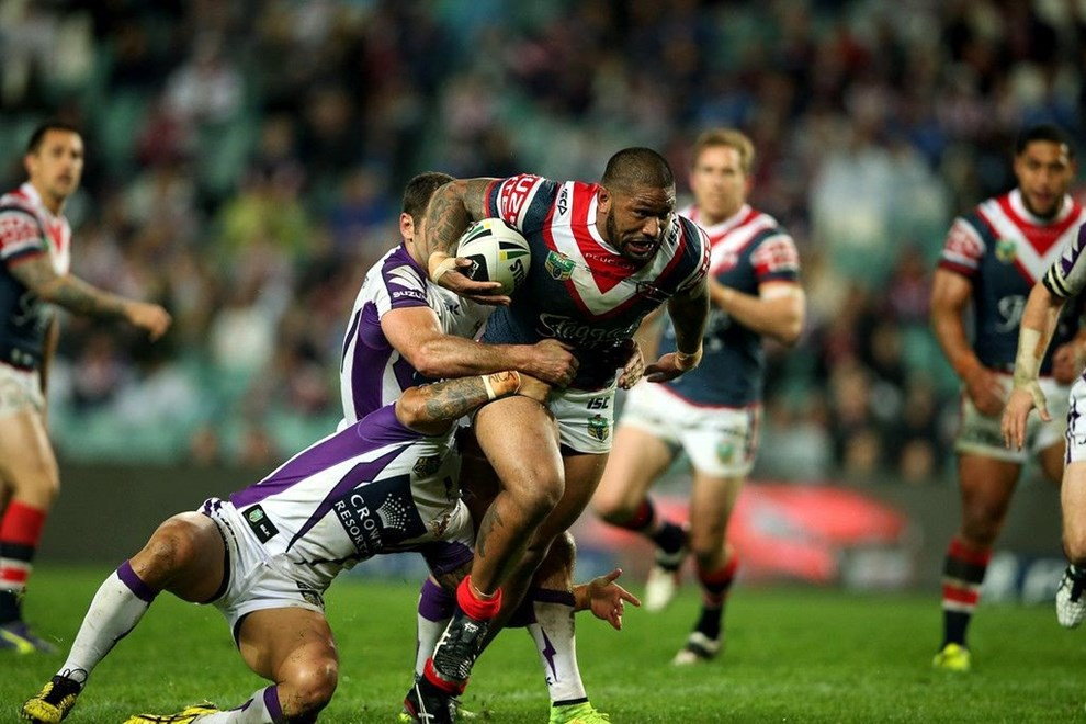 """Roosters v Storm. Sport NRL Rugby League. Allianz Stadium. 29 August 2014. Photo by Paul Seiser/SPA Images"""