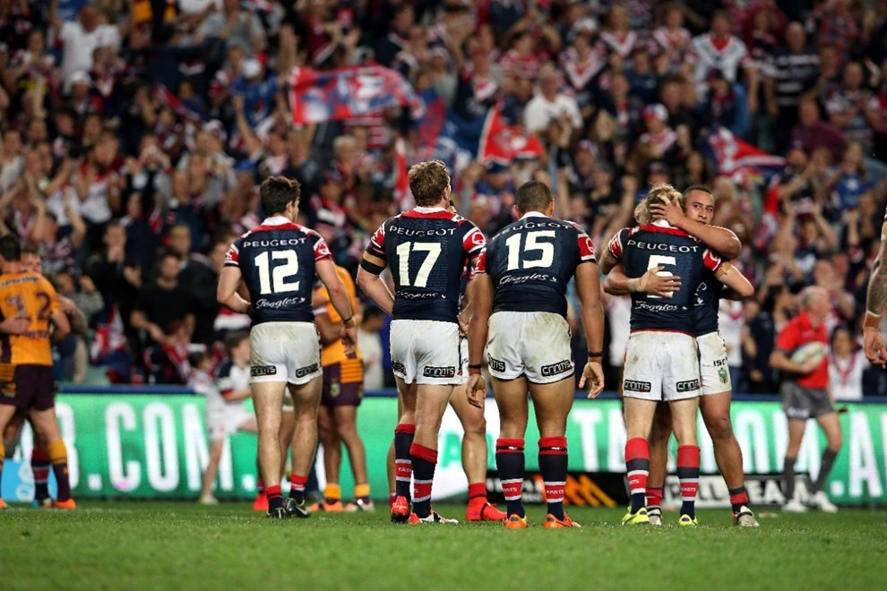 Roosters v Broncos. Sport NRL Rugby League. Allianz Stadium. 22 August 2015. Photo by Paul Seiser/Melba Studios