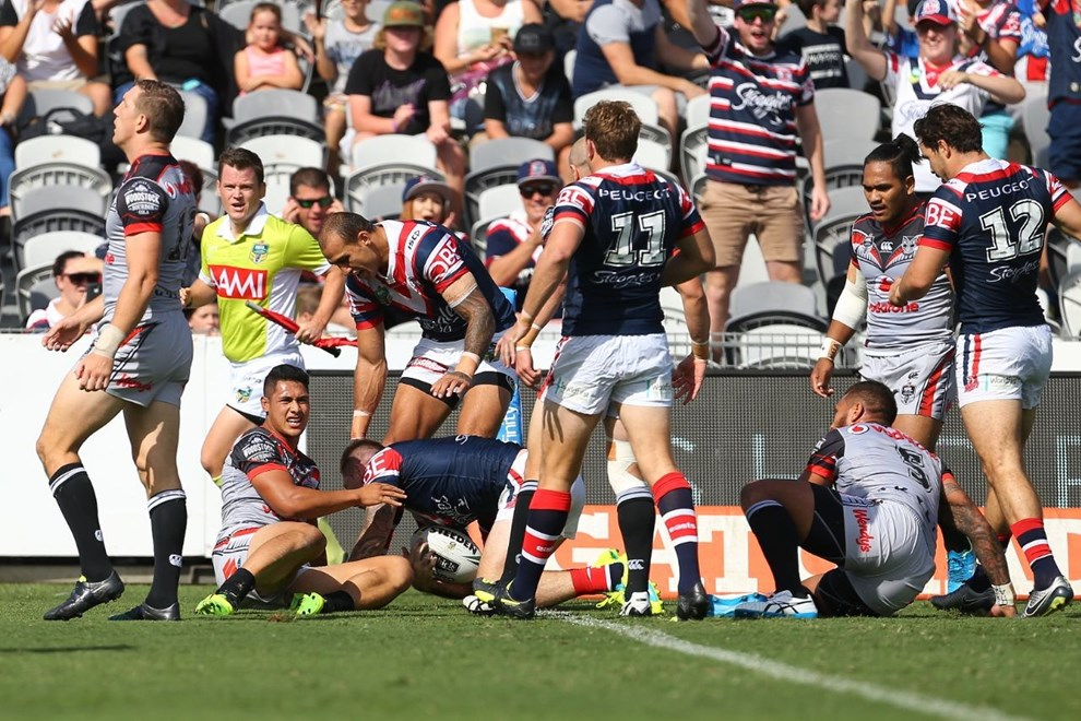 Competition - NRL Premiership Round - Round 05 Teams - Sydney Roosters V New Zealand Warriors - 3rd of April 2016 Venue - Central Coast Stadium, Gosford NSW, Photographer - Paul Barkley
