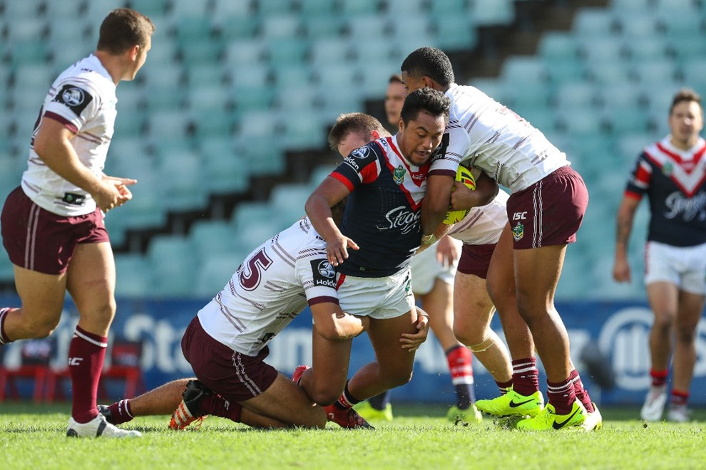 Competition - NYC. Round - Round 5. Teams - Sydney Roosters v Manly Warringah Sea Eagles. Date - 31st of March 2017. Venue - Allianz Stadium