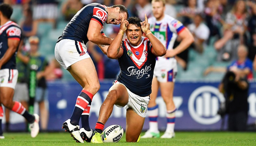 Latrell Mitchell celebrates post Try in 2017 at Allianz Stadium