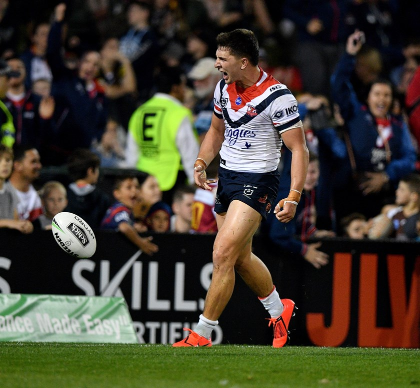 Radley roars with emotion after scoring a long range try against the Penrith Panthers.