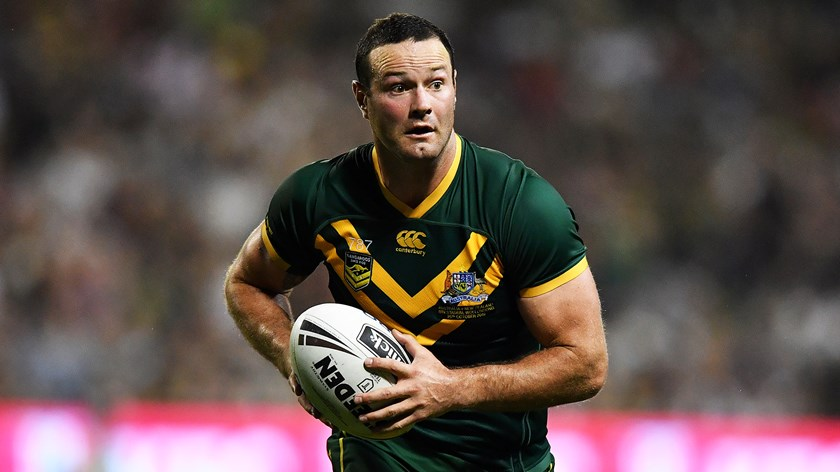 Captain Boyd Cordner takes the ball up for the Kangaroos.