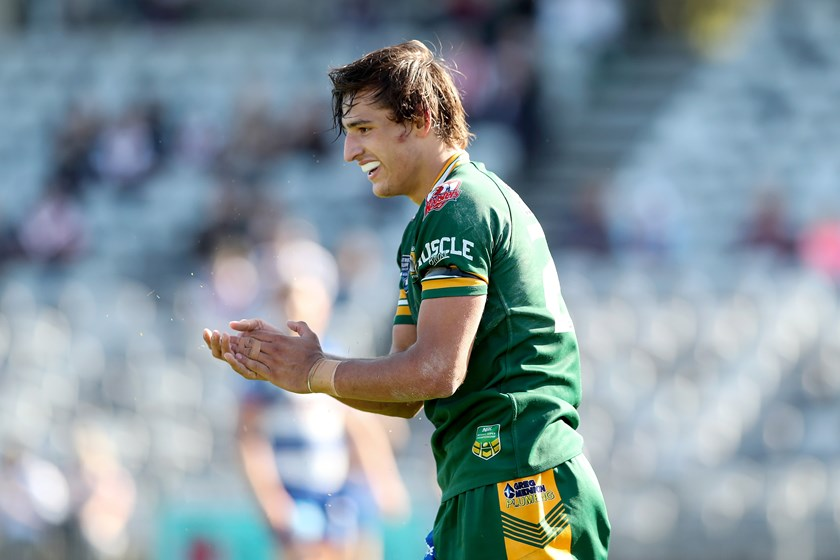 Smith after scoring the game-winning try for the Wyong Roos in 2018.