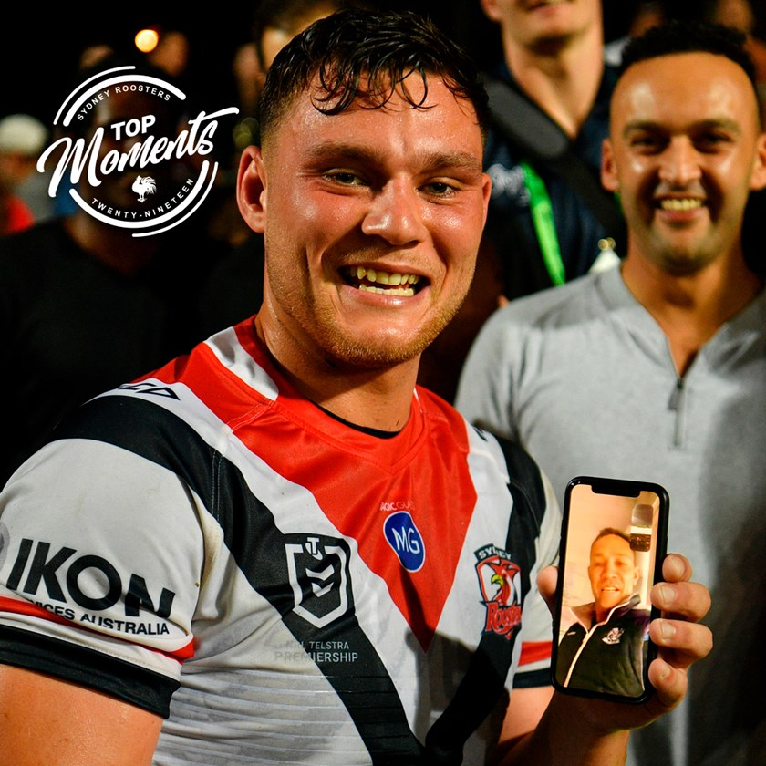 An emotional night at Lottoland when Roosters junior Lachlan Lam makes his debut while his father, Roosters great Adrian Lam, dials in from England.