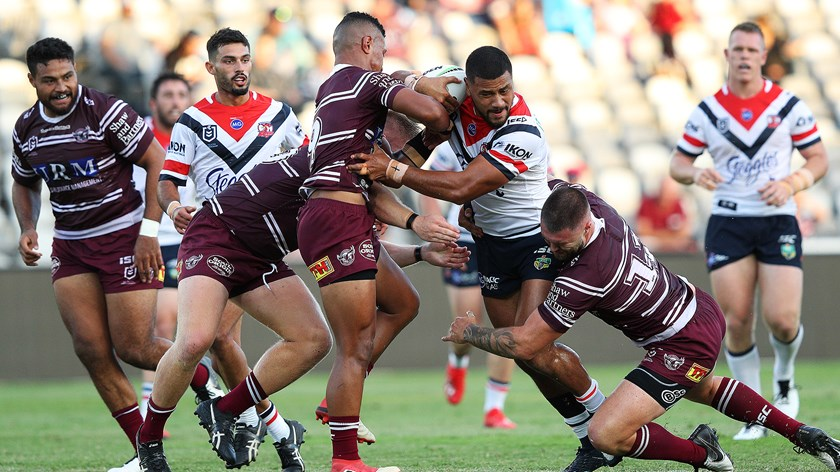 Poasa started for the Roosters in their Community Cup trial against the Sea Eagles.