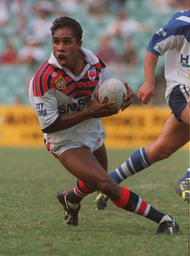 Roosters player Andrew Walker against the Bulldogs in 1995