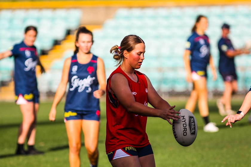 Keilee training with the NRLW Grand Final squad during the captain's run.