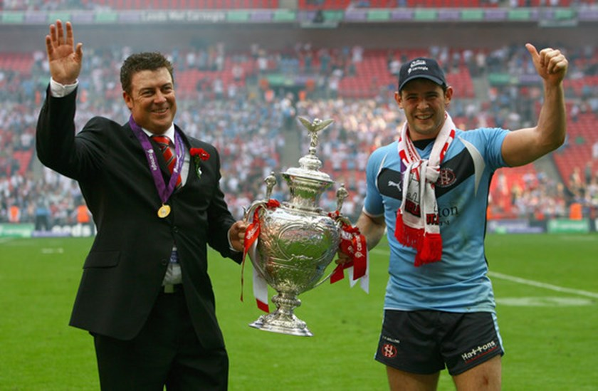 Daniel Anderson and Paul Wellens after winning the Challenge Cup.
