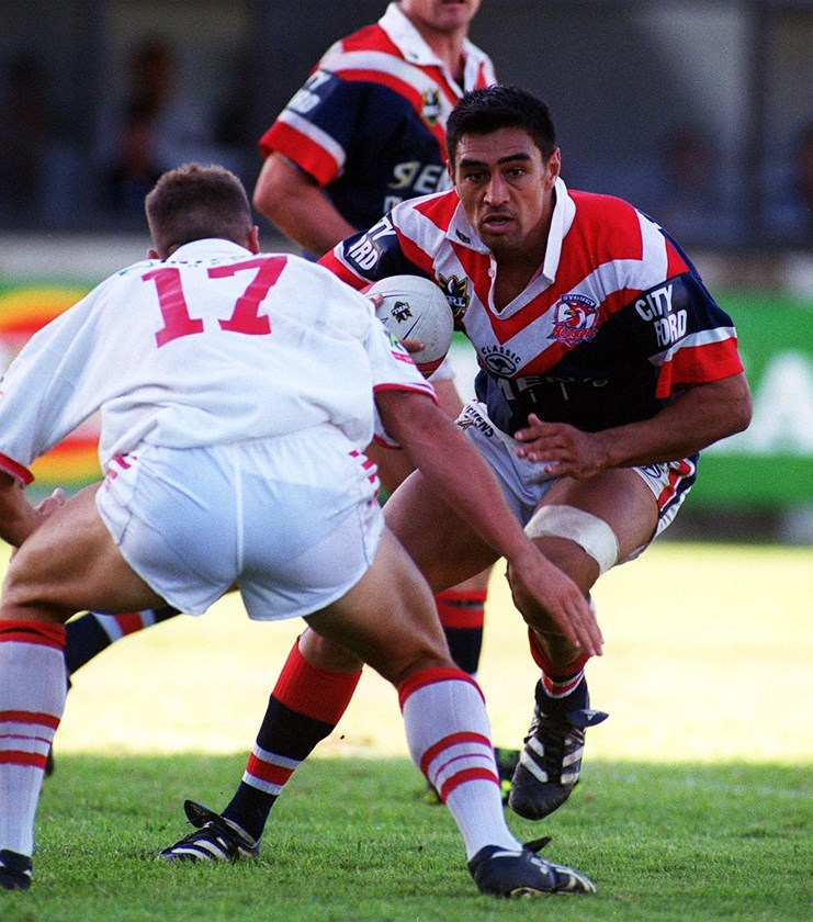 Richie Barnett takes a hit-up against the Dragons in 2000.