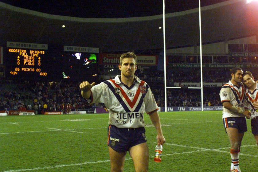 Luke Phillips following the Roosters Prelminiary Final win over the Newcastle Knights in 2000.