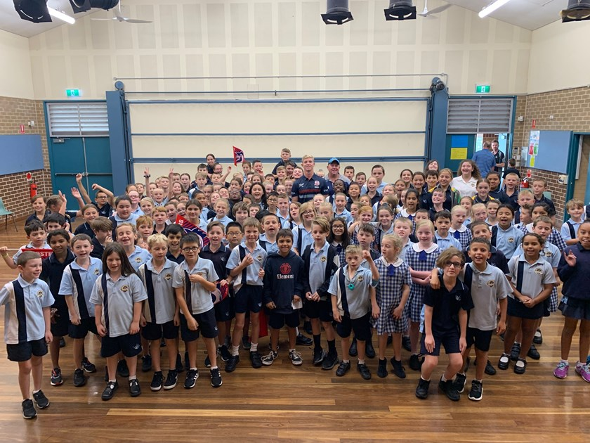 Freddy Lussick visits with students on the Central Coast