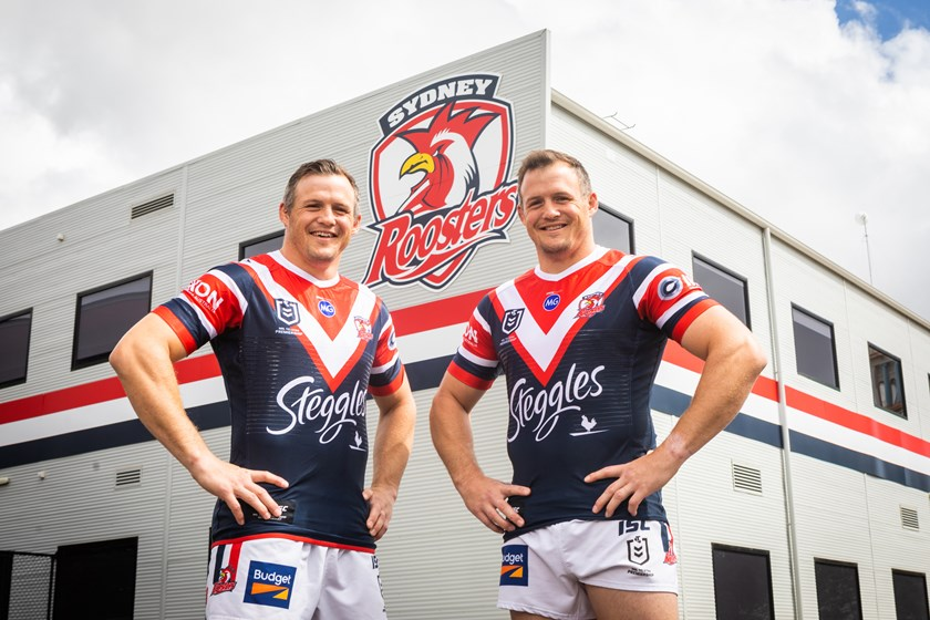 The Morris twins pose out front of Roosters Headquarters before the lockdown on Josh's first day at the Club.