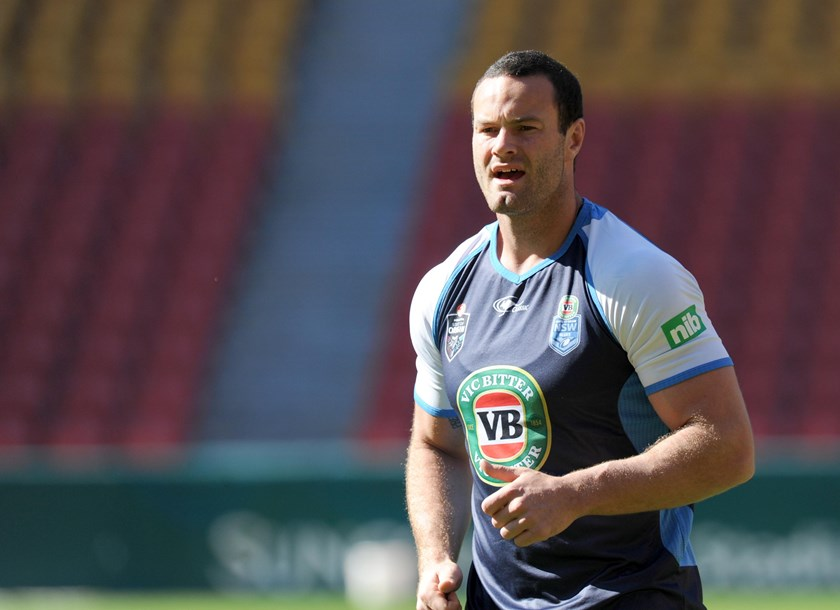 Boyd Cordner at the Blues Captain's Run at Suncorp Stadium in 2014.