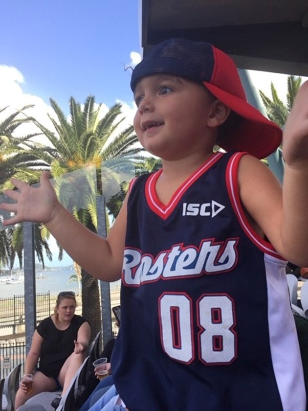 Ace cheering on the Roosters at Central Coast Stadium.