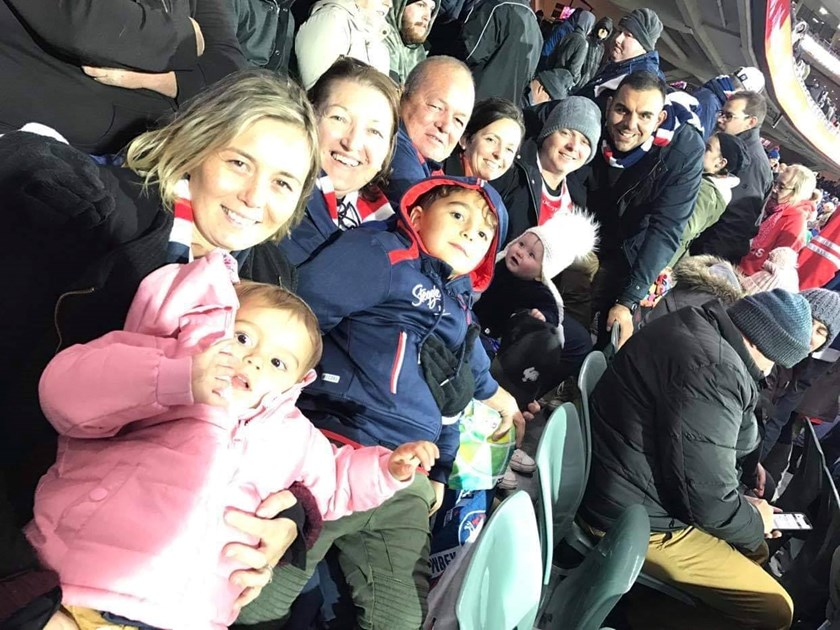 The Roots family cheering on their Roosters at Adelaide Oval.