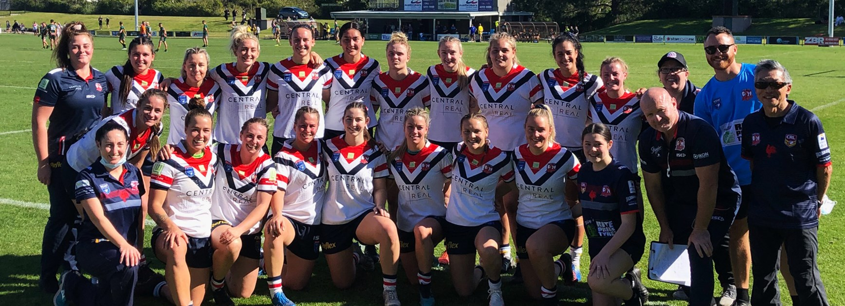 The Central Coast Roosters after a win at Morrie Breen Oval.
