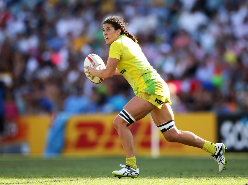 Charlotte Caslick in action for the Australian Sevens team. Credit: Getty Images